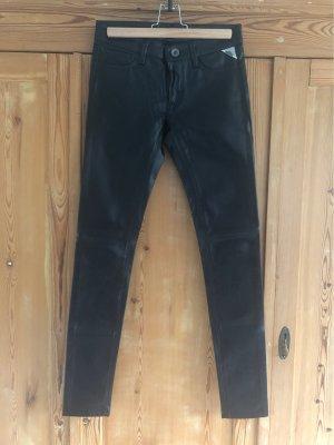 Replay Pantalón de cuero negro