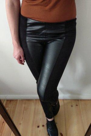 Kunstlederhose Fake leather Velour schwarz L / 40