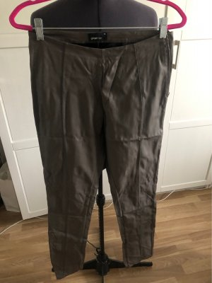 Gina Tricot Faux Leather Trousers grey brown