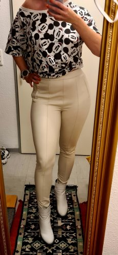 Miss Selfridge Leather Trousers natural white