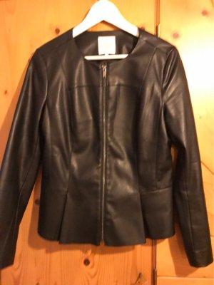 Clockhouse Faux Leather Jacket black polyester