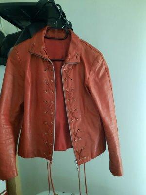Blazer en cuir rouge brique tissu mixte
