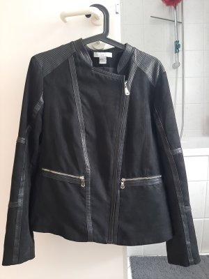 H&M Veste en cuir synthétique noir-doré