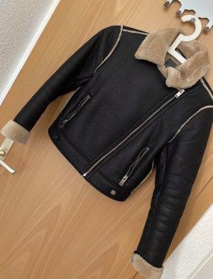 Primark Futrzana kurtka czarny-brązowy