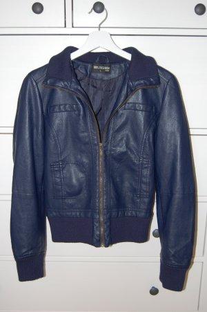 100% Fashion Veste en cuir synthétique bleu foncé-bleu tissu mixte