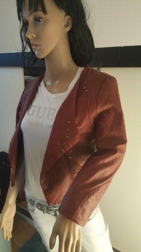 Crazy World Faux Leather Jacket bordeaux