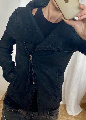 devided Faux Leather Jacket black