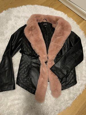 Veste en cuir synthétique noir-or rose