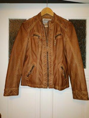 Canda Faux Leather Jacket cognac-coloured