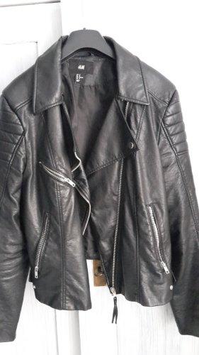H&M Faux Leather Jacket black imitation leather