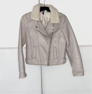 H&M Faux Leather Jacket light grey