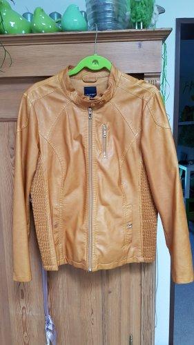 Livre Faux Leather Jacket cognac-coloured