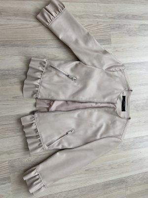 Zara Faux Leather Jacket oatmeal-dusky pink