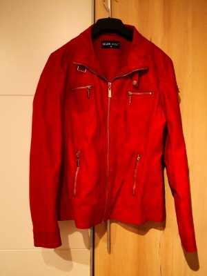 Faux Leather Jacket dark red