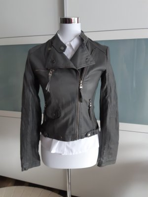 Faux Leather Jacket grey leather