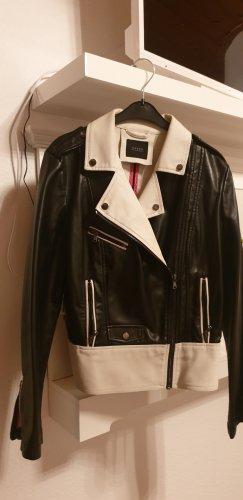 Guess Veste en cuir synthétique blanc-noir