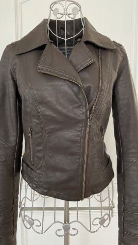River Island Faux Leather Jacket dark brown