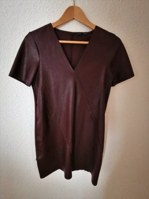 Zara Leather Dress bordeaux mixture fibre