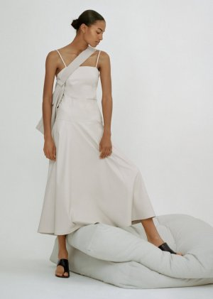 Zara Vestito in pelle bianco-crema