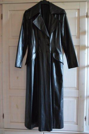 Floor-Lenght Coat black polyvinyl chloride