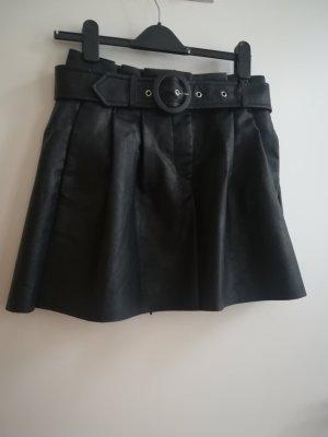 Zara Spódnica z imitacji skóry czarny