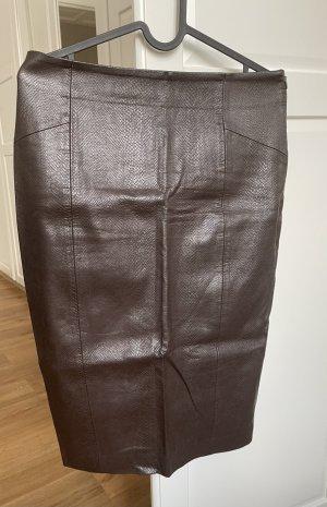 Zara Jupe en cuir brun foncé