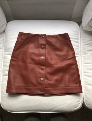 Topshop Leather Skirt cognac-coloured-russet