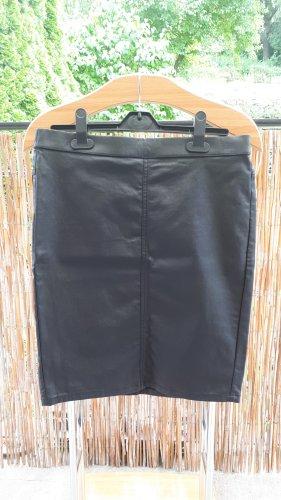 Kaffe Falda de cuero de imitación negro Viscosa