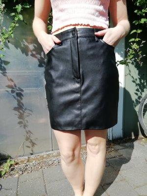 Mango collection Falda de cuero de imitación negro tejido mezclado