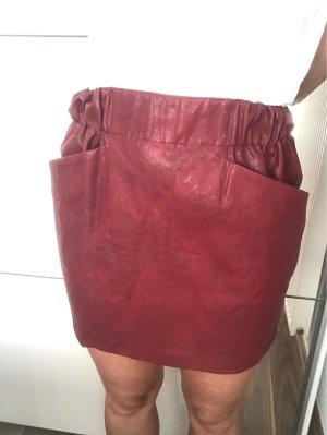 Zara Basic Spódnica z imitacji skóry bordo