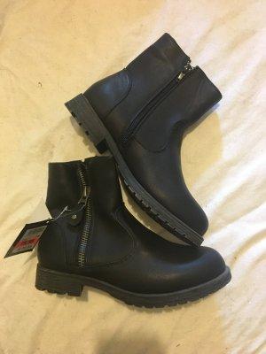Booties black imitation leather