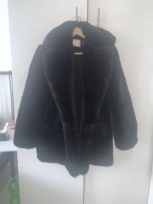 Kunstpelz Jacke schwarz Mantel