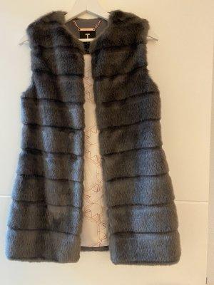 Ted baker Futrzany płaszcz jasnoszary