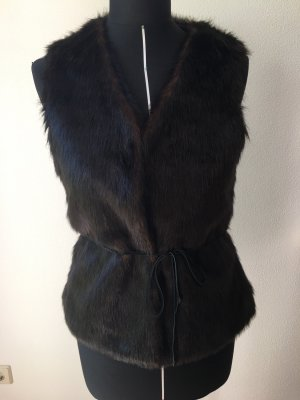 Gracia Gilet en fourrure brun noir