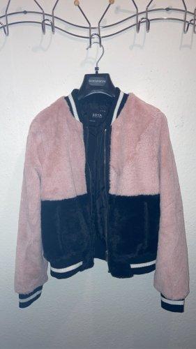 New Yorker Veste de fourrure rose clair-blanc laine