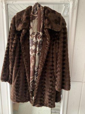 Dennis Basso Fake Fur Coat brown-dark brown