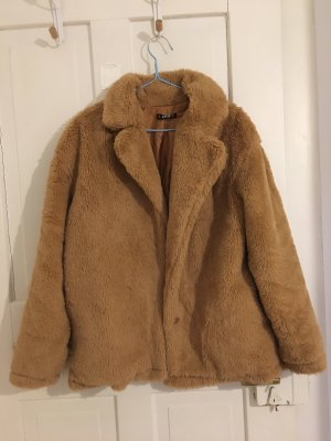 Sheinside Fake Fur Coat light brown-brown