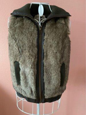Trf by Zara Fur vest dark brown-brown