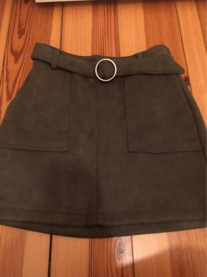 Bershka Faux Leather Skirt khaki