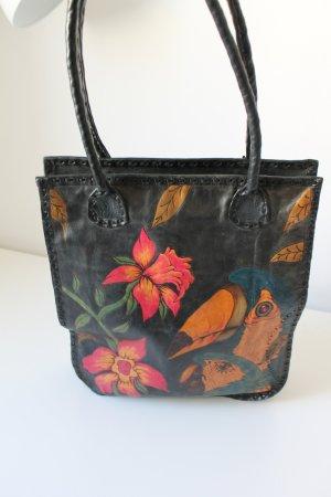 Kunstvolle Echtleder Handtasche