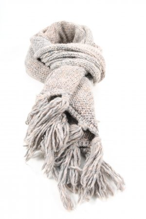 Kurt Kölln Fringed Scarf light grey-natural white cable stitch casual look