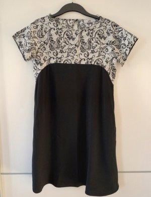 adl Vestido de manga corta blanco-negro