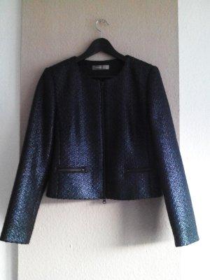 Kurz-Blazer in schwarz, glänzend, Grösse 38