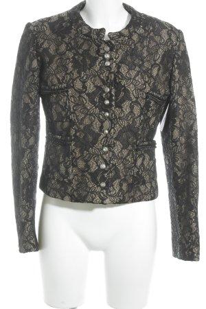 Kurz-Blazer schwarz-beige florales Muster Elegant