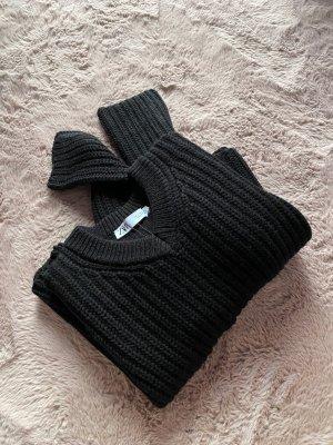 Kurz geschnittener schwarzer Pullover S Damen