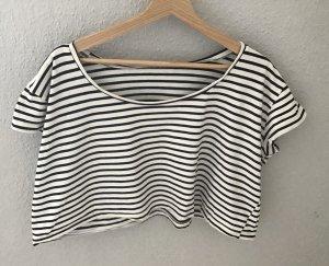 American Apparel Camicia cropped bianco-nero Cotone