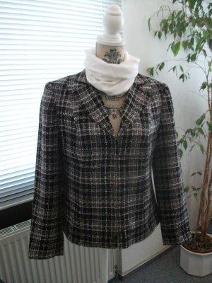 Kurz Jacke / Blazer, Gr. 38, schwarz - weiß - rosa, kariert Boucle
