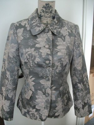 Kurz Jacke / Kurz Blazer mit Blumen Muster, Gr. 38, grau / rose