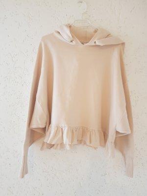 Kurz Pullover  mit Kapuze von Zara ,Creme ,Große L