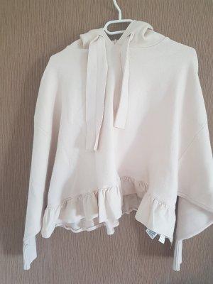 Kurz Pullover mit Kapuze Zara Beige Creme Große S
